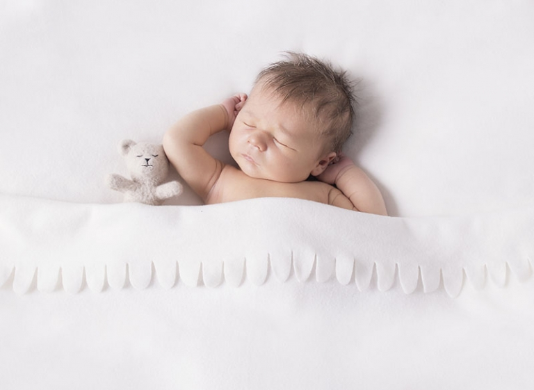 newborn photo with teddy