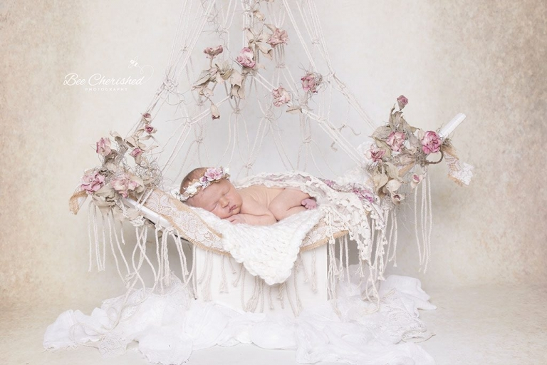 vintage macrame newborn swing with a baby girl photo